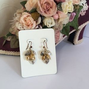 Vintage gold & silver heart dangle earrings